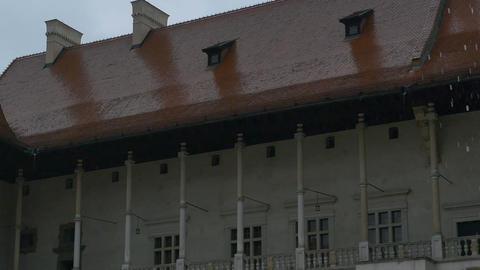 Raining at Medieval Castle Footage