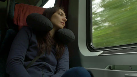 Woman Travelling by Train Footage