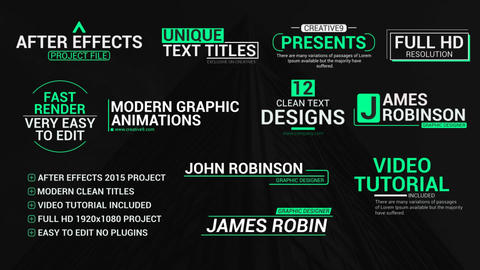 Unique Text Titles After Effects Template
