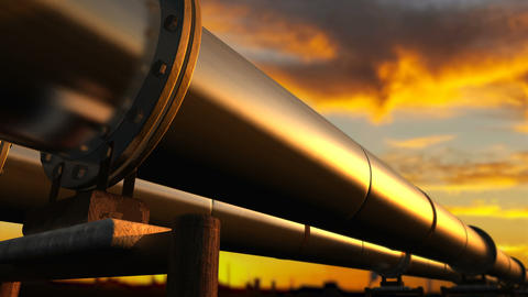 Pipelines loop perspective tracking orange clouds Live Action