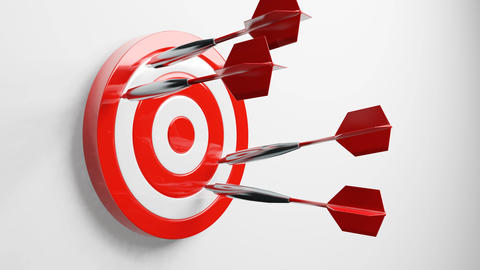 Some red dart arrows hit target Animation