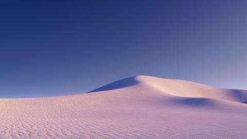 Unreal desert landscape with light pink sand dunes Animation
