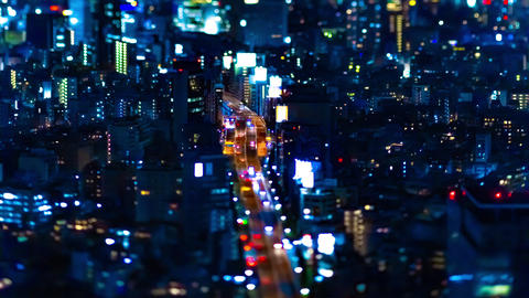 A night timelapse of miniature highway at the urban city in Tokyo tiltshift Live Action