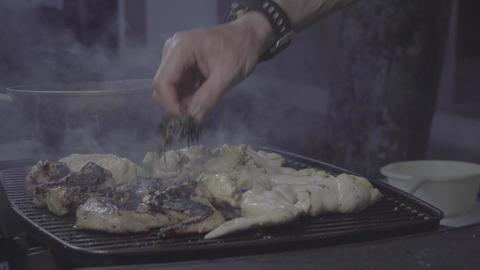 4k-24. BBQ chicken medium shot Live Action