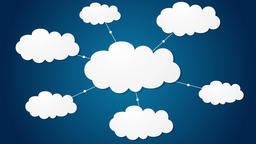 Clouds server communication tech video clip Animation