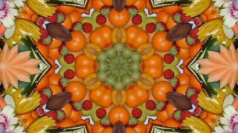 Kaleidoscope fruit vegetable 4k341 Footage