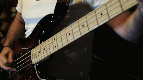 playing electrical bass guitar: band, musical instrument, cd, sound, rock, 4k Footage