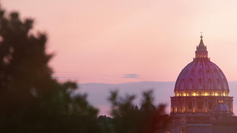 sunset views of St. Peter's Basilica in Rome: Vatican, Christianity, 4k, pope Footage
