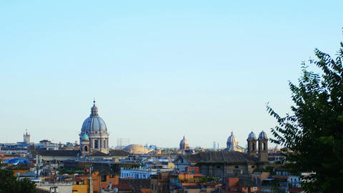 view of Rome from the Gianicolo: monuments, city, history, skyline, landscape Footage