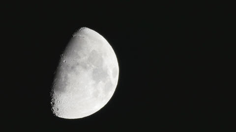 Half moon soon seen after sunset(no CG, no time lapse) Live Action
