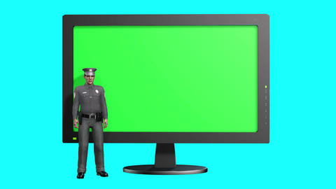 869 4K LAW SOCIAL RULES 3D animated POLICEMAN talks amd rxplain about rules Animation