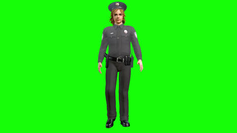 874 4K EQUILITY 3D computer generated police woman walking to her job Animation