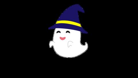 笑うオバケのアニメーション(帽子付き) ループ CG動画