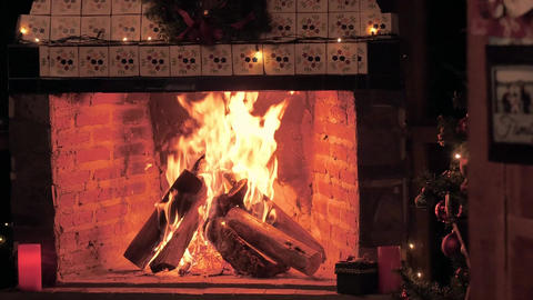 A fireplace lit at Christmas time Live Action
