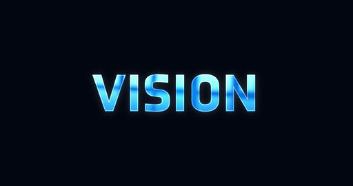Vision. Electric lightning word. Text Animation Animation