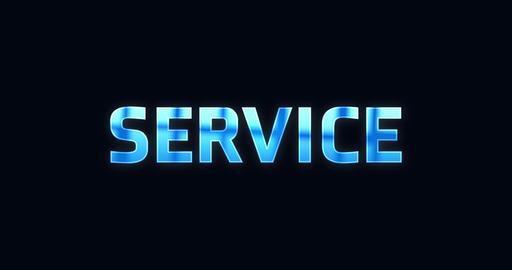 Service. Electric lightning word. Text Animation Animation