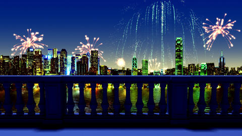 Fireworks over night city. New year's night. View from the balcony Animation