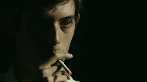 desperate man smoking: depression, fear, sadness,... Stock Video Footage