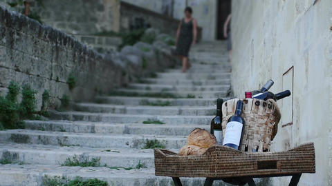 typical Italian products outside a shop in Matera: tradition, food, whine Footage