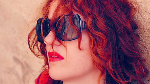 thoughtful red haired woman portrait: pensive, thinking, deep in her things Footage