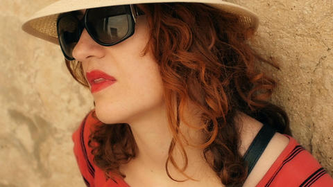 young woman is hot in a summer day: pensive and… Stock Video Footage