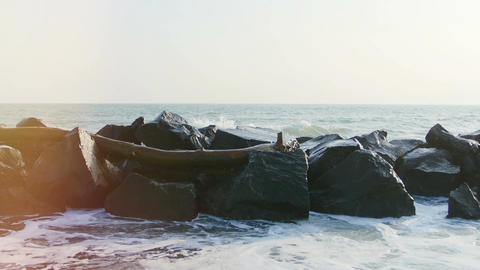 rocks and sea at sunset Footage