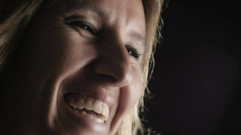 happy blond woman smiling: happiness, laughing, smile Footage