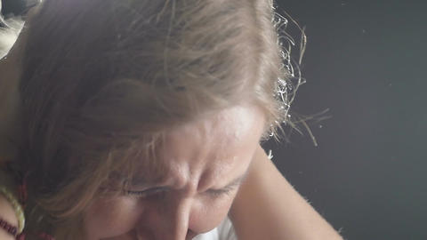 desperate crying blonde woman: desperation, loneliness Footage