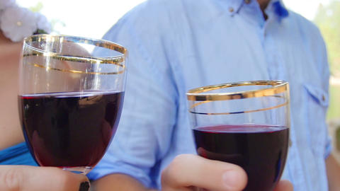 man and woman toasting with red wine ビデオ