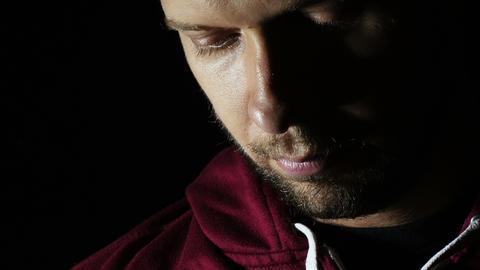 sad young man portrait: desperation, loneliness, sadness Live Action