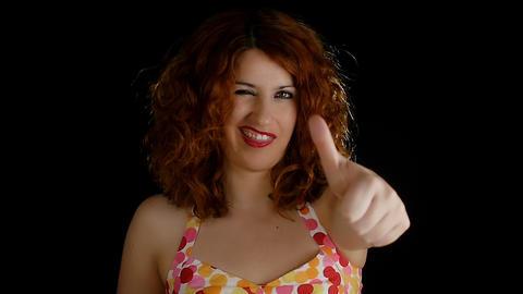Redhair woman winks Footage
