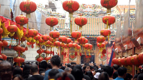 Chinese New Year festival at Leng Noei Yi temple in Bangkok's Chinatown Footage