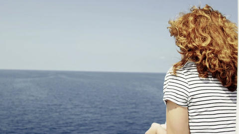 smiling woman on a ferryboat during navigation Stock Video Footage
