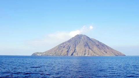 view from the sea of the Stromboli Volcano in Eolie island: Sicily, Italy Footage