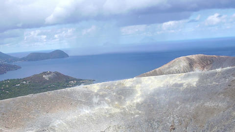 Vulcano, Eolie island in Sicily, Italy: Volcano Crater, steam, geology, rocks Footage