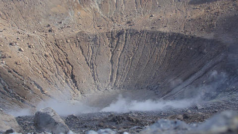 smoke and steam from the crater of the volcano: Italy, Sicily, the eolie islands Footage