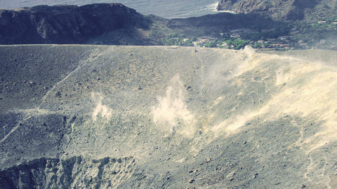 Vulcano, Eolie island in Sicily, Italy: Volcano Crater, steam, geology, gas Footage