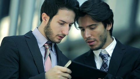 businessmen working with smartphone and mobile devices Footage