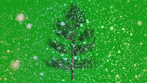 Snowfall and christmas tree motion graphics with green screen background Animation