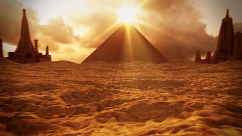 3D Sand Desert Landscape with Ancient Buildings Loop Background Animation