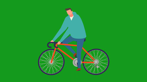 Cycling man motion graphics with green screen background Animation