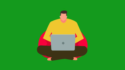 Man working on laptop motion graphics with green screen background Animation