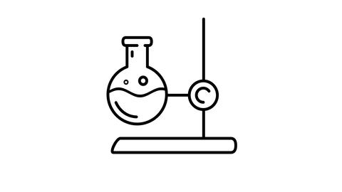 Lab Stand with Flask line icon on the Alpha Channel Animation