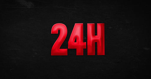 24h open. Glossy red word animation Animation