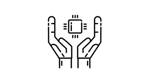 CPU in hands line icon on the Alpha Channel Animation