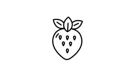 Strawberry line icon on the Alpha Channel Animation