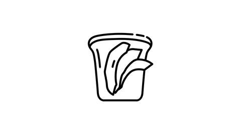 Vegan Sandwich line icon on the Alpha Channel Animation