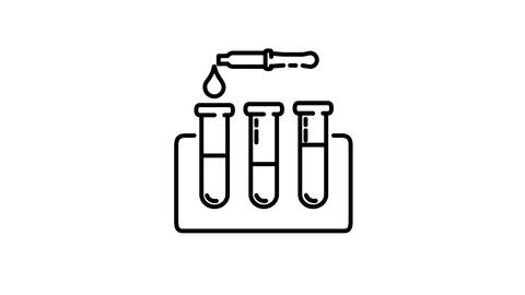 Test Tubes and Pipette line icon on the Alpha Channel Animation