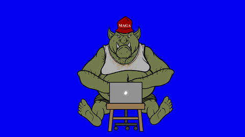 Animated Right Wing Internet Troll Trolling On Blue Screen Animation