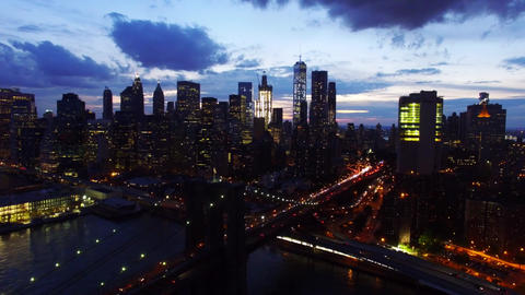 Real Time Flying towards Brooklyn Bridge and Manhattan Downtown Live Action